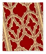 Gothic Pattern On Red Fleece Blanket