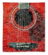 Red Guitar Center - Digital Painting - Music Fleece Blanket