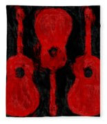 Red Guitars Fleece Blanket