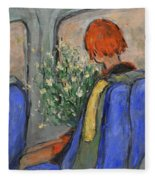 Red-haired Girl On A Sydney Train Fleece Blanket