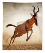 Red Hartebeest Running In Dust Fleece Blanket