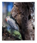 Red Headed Woodpecker Fleece Blanket