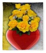 Red Heart Vase With Yellow Roses Fleece Blanket
