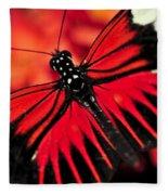 Red Heliconius Dora Butterfly Fleece Blanket