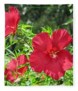 Red Hollyhocks Fleece Blanket