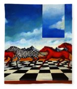 Red Horses With Zebra Fleece Blanket