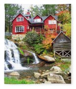 Red House By The Waterfall Fleece Blanket