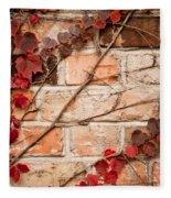 Red Ivy Leaves Creeper Fleece Blanket