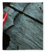 Red Leaf On Cut Wood Fleece Blanket