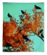 Red Leaves Among The Ravens Fleece Blanket