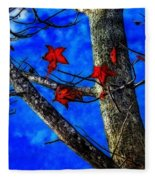 Red Leaves Blue Sky In Autumn Fleece Blanket
