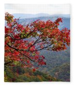 Red Leaves In The Blueridge Fleece Blanket