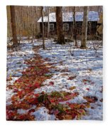 Red Leaves On Snow - Cabin In The Woods Fleece Blanket