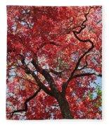 Red Leaves On Tree Fleece Blanket
