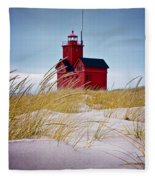 Red Lighthouse By Holland Michigan Known As Big Red Fleece Blanket