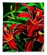 Red Lilies Expressive Brushstrokes Fleece Blanket