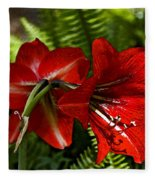 Red Lilies For Spring Fleece Blanket