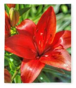 Red Lily 2 Fleece Blanket