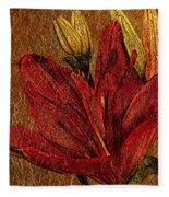 Red Lily Gold Leaf Fleece Blanket