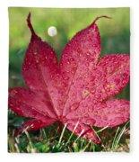 Red Maple Leaf And Dew Fleece Blanket