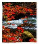 Red Maple Stream  Fleece Blanket