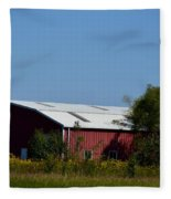 Red Metal Barn Fleece Blanket
