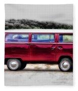 Red Microbus Fleece Blanket