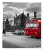 Red Midland Bus And Sheep - 1960's    Ref-126 Fleece Blanket