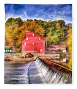 Red Mill Painted Fleece Blanket