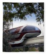 Red Monorail Disneyland 01 Fleece Blanket