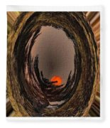 Red Moon Rising - Abstract - Triptych Fleece Blanket