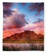 Red Mountain Sunset Fleece Blanket