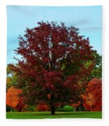 Red Oak In Loose Park Fleece Blanket
