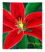 Red Oriental Daylily Fleece Blanket