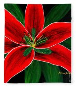 Red Oriental Lily Fleece Blanket