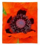 Red Oriental Poppy Fleece Blanket
