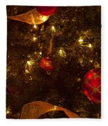 Red Ornament And Gold Ribbon Fleece Blanket