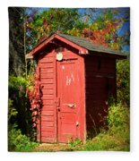 Red Outhouse Fleece Blanket