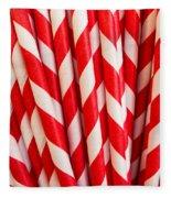 Red Paper Straws Fleece Blanket