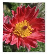 Red Pasque Flower Fleece Blanket