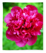 Red Peony Flower Fleece Blanket