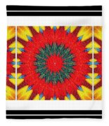 Red Peppered Sunshine - Abstract - Triptych Fleece Blanket