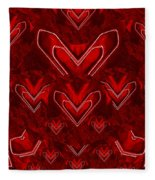 Red Pop Art Hearts Fleece Blanket
