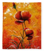 Red Poppies 023 Fleece Blanket