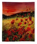 Red Poppies And Sunset Fleece Blanket
