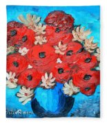 Red Poppies And White Daisies Fleece Blanket