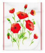 Red Poppies Botanical Design Fleece Blanket