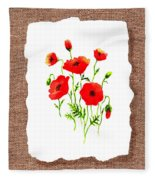 Red Poppies Decorative Collage Fleece Blanket
