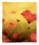 Red Poppies Fleece Blanket