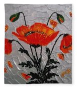 Red Poppies Original Palette Knife Fleece Blanket